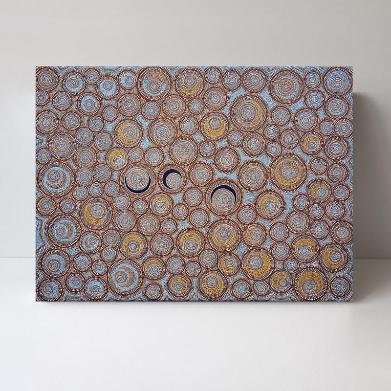Wall-Art-Poster-Canvas-Framed-Orange and Blue Dotted Circles-Gioia Wall Art