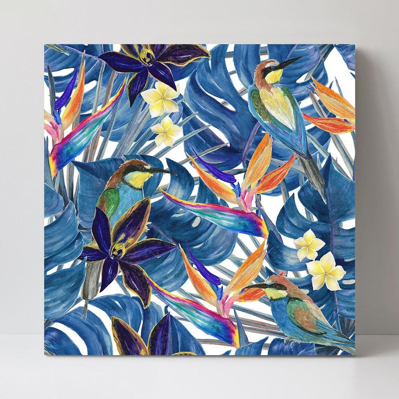 Wall-Art-Poster-Canvas-Framed-Orchid And Bird Of Paradise Flowers, Blue Monstera Leaves, Style B-Gioia Wall Art