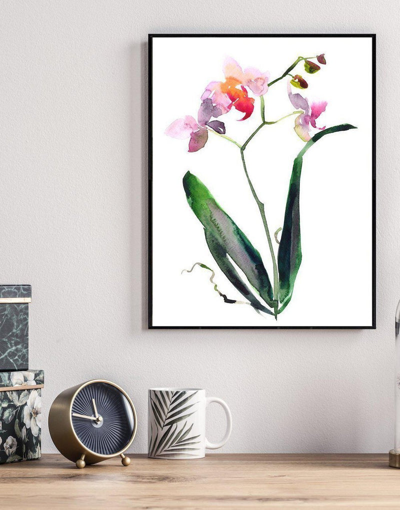 Wall-Art-Poster-Canvas-Framed-Orchid And Leaves, Hand Painted Watercolour Style-Gioia Wall Art