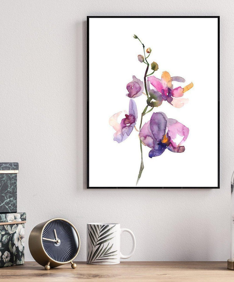 Wall-Art-Poster-Canvas-Framed-Orchid, Hand Painted Watercolour Style-Gioia Wall Art