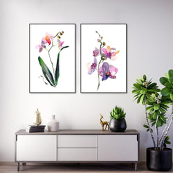 Wall-Art-Poster-Canvas-Framed-Orchid, Hand Painted Watercolour Style, Set Of 2-Gioia Wall Art