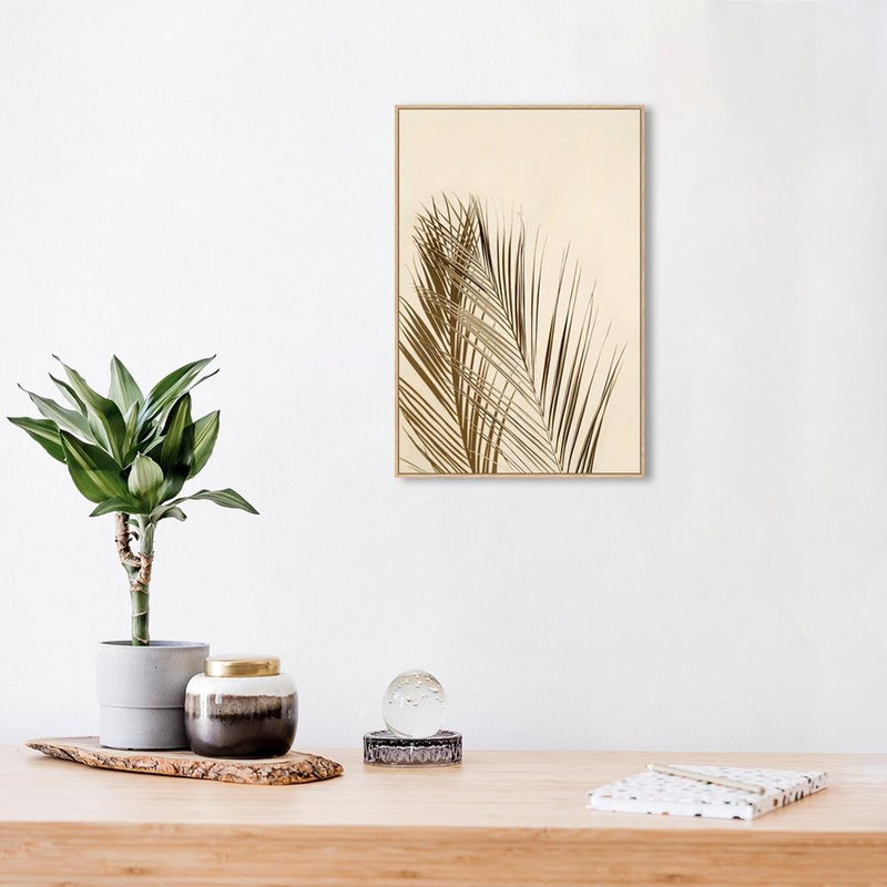 Wall-Art-Poster-Canvas-Framed-Palm Leaf, vintage colour-Gioia Wall Art