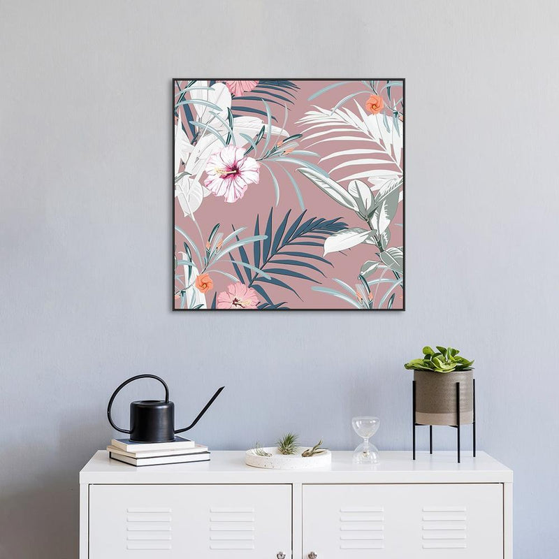 Wall-Art-Poster-Canvas-Framed-Palm leaves and hibiscus flowers-Gioia Wall Art