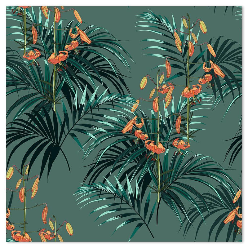 Wall-Art-Poster-Canvas-Framed-Palm Leaves and Tropical Orange Lilies-Gioia Wall Art