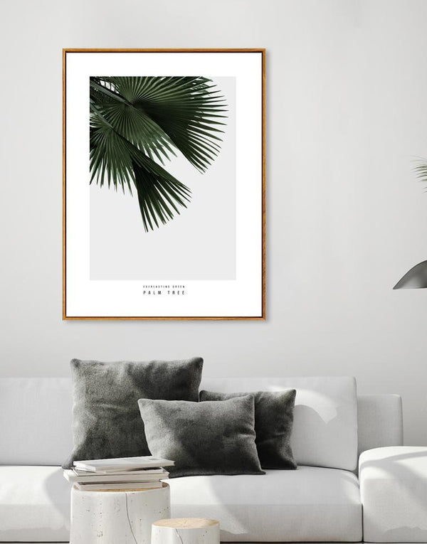 Wall-Art-Poster-Canvas-Framed-Palm Tree, Everlasting Green Series-Gioia Wall Art