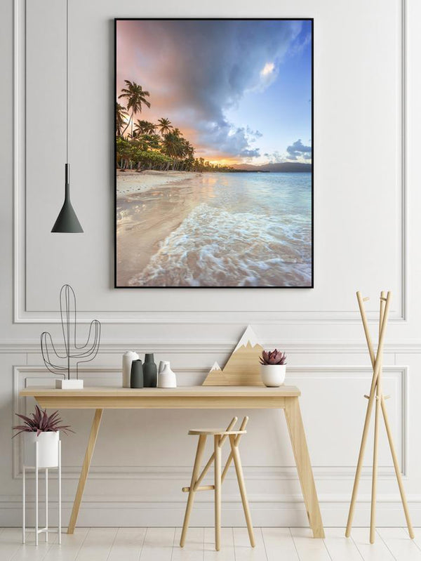 Wall-Art-Poster-Canvas-Framed-Palm Trees And Sandy Beach-Gioia Wall Art