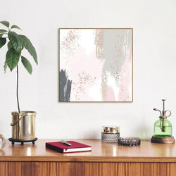 Wall-Art-Poster-Canvas-Framed-Pastel green and rose brush strokes with sparkles, abstract art, style a-Gioia Wall Art