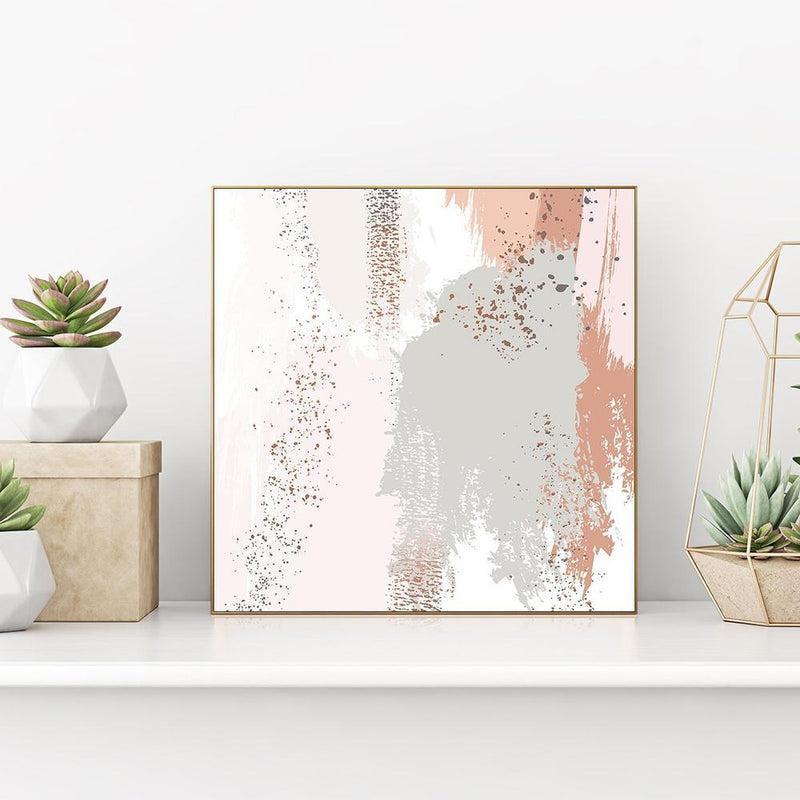 Wall-Art-Poster-Canvas-Framed-Pastel green and rose brush strokes with sparkles, abstract art, style b-Gioia Wall Art