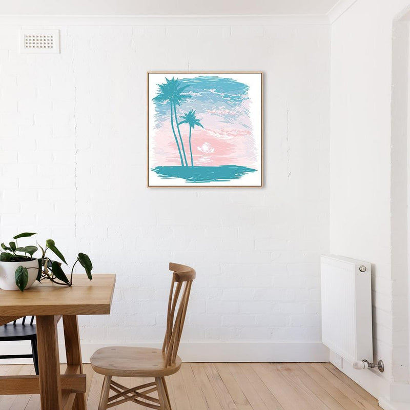 Wall-Art-Poster-Canvas-Framed-Pastel Palms-Gioia Wall Art