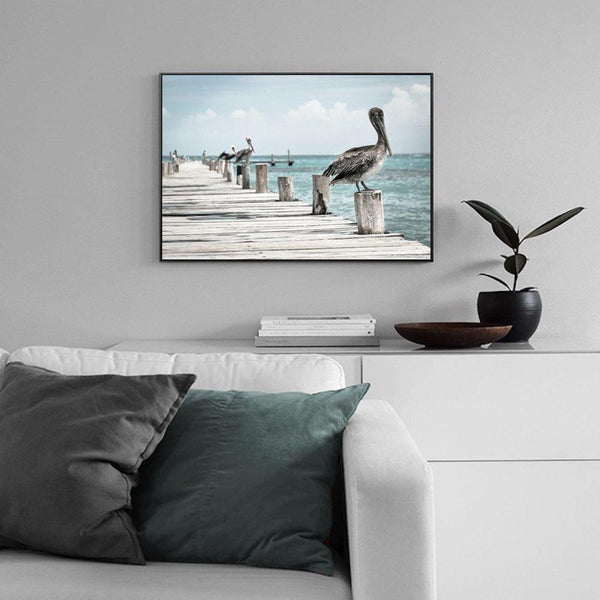 Wall-Art-Poster-Canvas-Framed-Pelican at The Pier , Sea Ocean And Beach Print-Gioia Wall Art