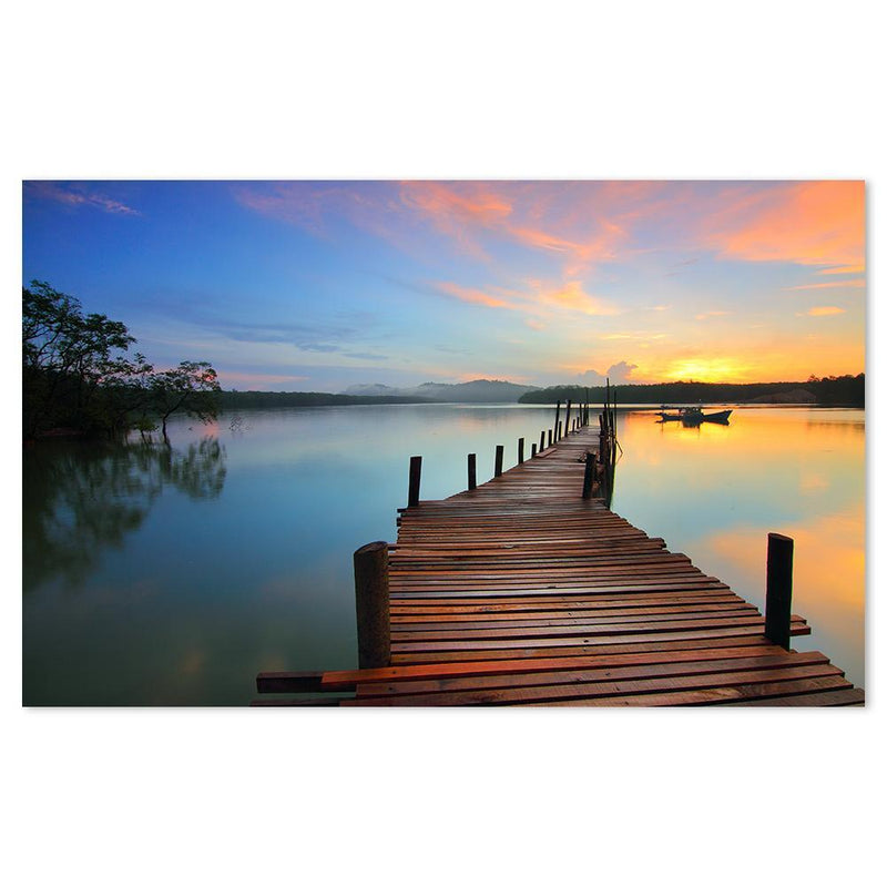 Wall-Art-Poster-Canvas-Framed-Pier At The Lake-Gioia Wall Art