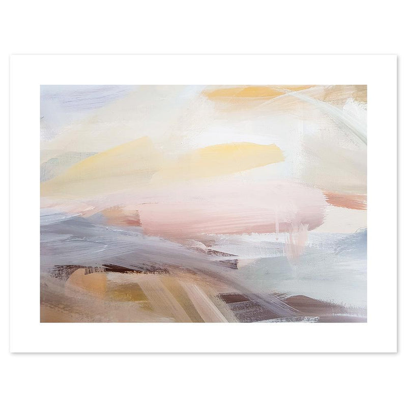 Wall-Art-Poster-Canvas-Framed-Pink And Yellow Brush Strokes, Abstract Art-Gioia Wall Art