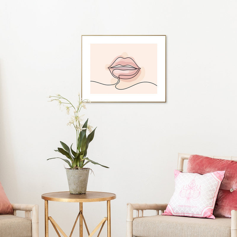 Wall-Art-Poster-Canvas-Framed-Pink Lips, Kiss, Line Art-Gioia Wall Art