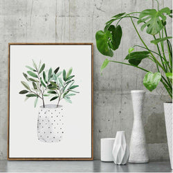 Wall-Art-Poster-Canvas-Framed-Plants in Bottle, Watercolour Painting-Gioia Wall Art
