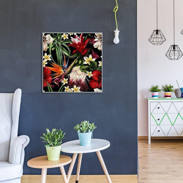 Wall-Art-Poster-Canvas-Framed-Plumeria And Bird Of Paradise Flowers, Style B-Gioia Wall Art