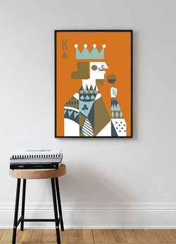 Wall-Art-Poster-Canvas-Framed-Poker Face, King-Gioia Wall Art