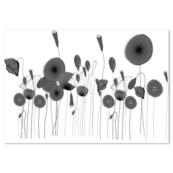 Wall-Art-Poster-Canvas-Framed-Poppy Flowers, Black And White-Gioia Wall Art