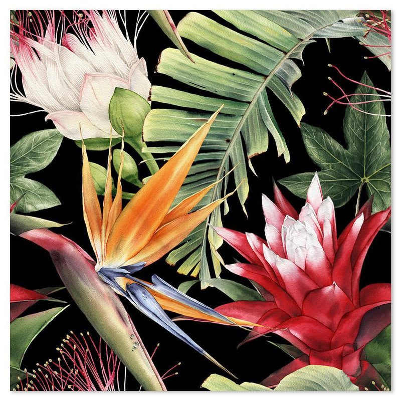 Wall-Art-Poster-Canvas-Framed-Protea And Bird Of Paradise Flowers, Banana Tree Leaves, Style A-Gioia Wall Art