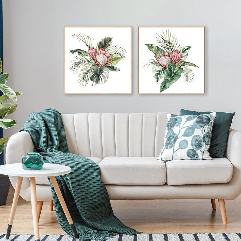 Wall-Art-Poster-Canvas-Framed-Protea Blush, Set of 2-Gioia Wall Art