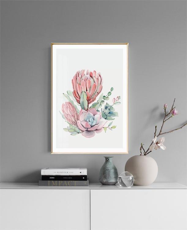Wall-Art-Poster-Canvas-Framed-Protea Flower And Succulents Bouquet, Watercolour-Gioia Wall Art