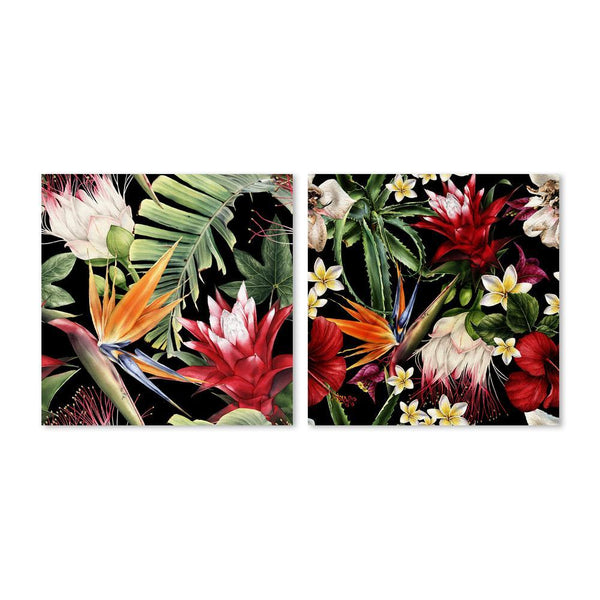 Wall-Art-Poster-Canvas-Framed-Protea, Plumeria And Bird Of Paradise Flowers, Set of 2-Gioia Wall Art