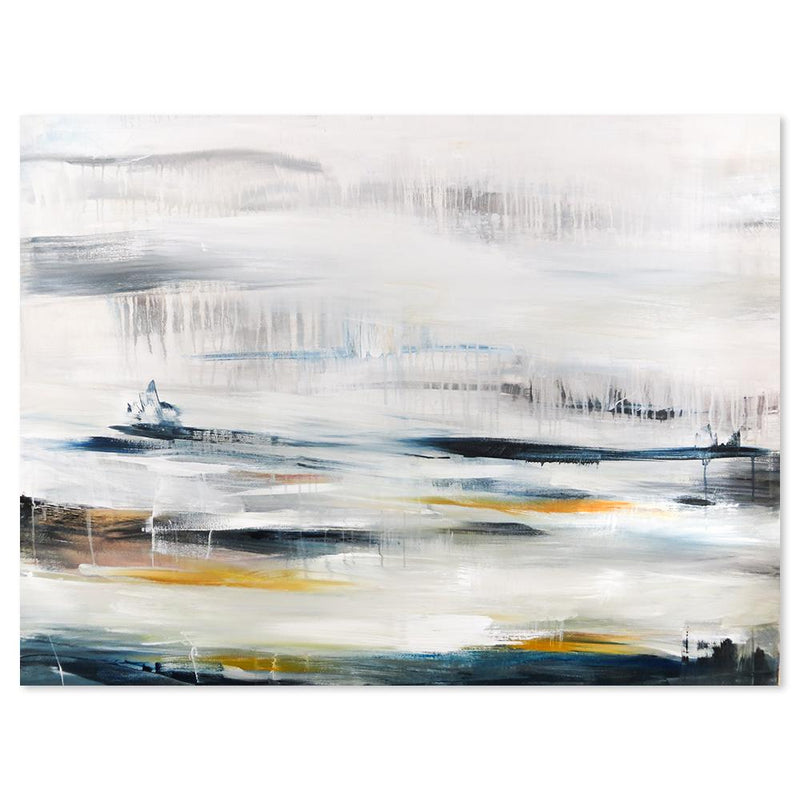 Wall-Art-Poster-Canvas-Framed-Raining At the seashore, Abstract Landscape-Gioia Wall Art
