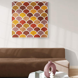Wall-Art-Poster-Canvas-Framed-Red and Mustard Scales-Gioia Wall Art