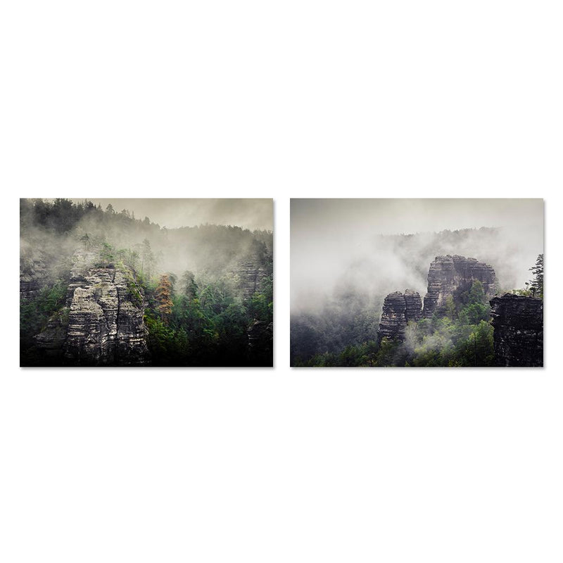 Wall-Art-Poster-Canvas-Framed-Rock mountain in fog, Set Of 2-Gioia Wall Art