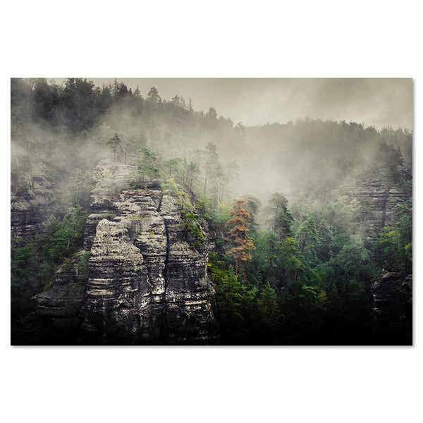 Wall-Art-Poster-Canvas-Framed-Rock mountain in fog, Style A-Gioia Wall Art