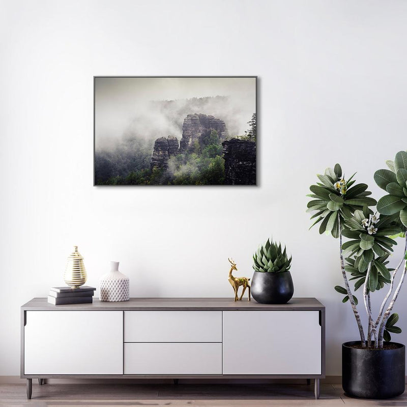 Wall-Art-Poster-Canvas-Framed-Rock mountain in fog, Style B-Gioia Wall Art