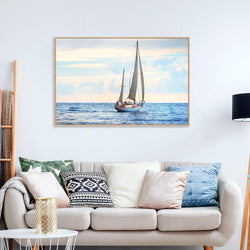 Wall-Art-Poster-Canvas-Framed-Sailing In The Sea, Ocean Beach Print-Gioia Wall Art