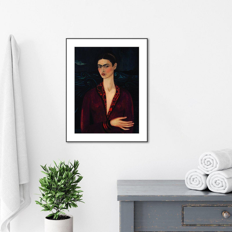 Wall-Art-Poster-Canvas-Framed-Self Portrait in a Velvet Dress, By Frida Kahlo-Gioia Wall Art