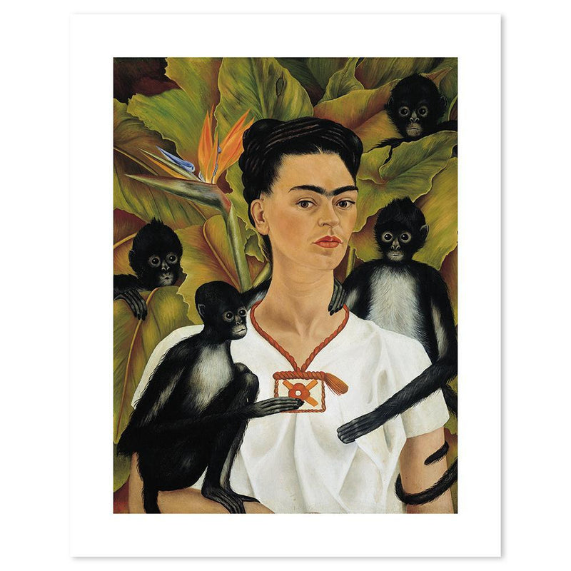 Wall-Art-Poster-Canvas-Framed-Self portrait With Monkeys, By Frida Kahlo-Gioia Wall Art