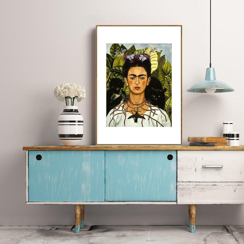 Wall-Art-Poster-Canvas-Framed-Self Portrait with Thorn Necklace and Hummingbird, By Frida Kahlo-Gioia Wall Art