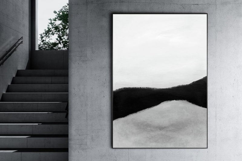 Wall-Art-Poster-Canvas-Framed-Shades, Abstract Art, Black White And Grey, Style C-Gioia Wall Art