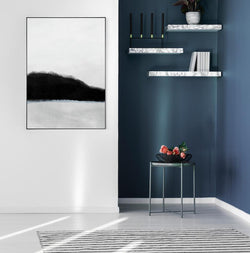 Wall-Art-Poster-Canvas-Framed-Shades, Abstract Art, Black White And Grey with A Touch Of Blue, Style A-Gioia Wall Art