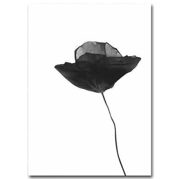 Wall-Art-Poster-Canvas-Framed-Single Black Poppy Flower, Watercolour-Gioia Wall Art