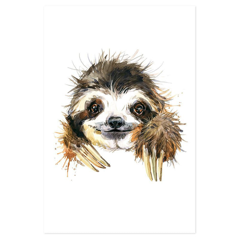 Wall-Art-Poster-Canvas-Framed-Sloth, Watercolour painting style-Gioia Wall Art