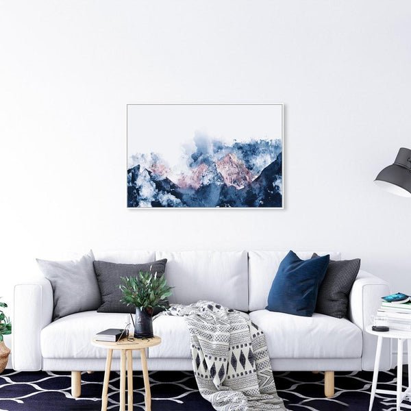 Wall-Art-Poster-Canvas-Framed-Snowy Mountain and Blush Mountaintop-Gioia Wall Art