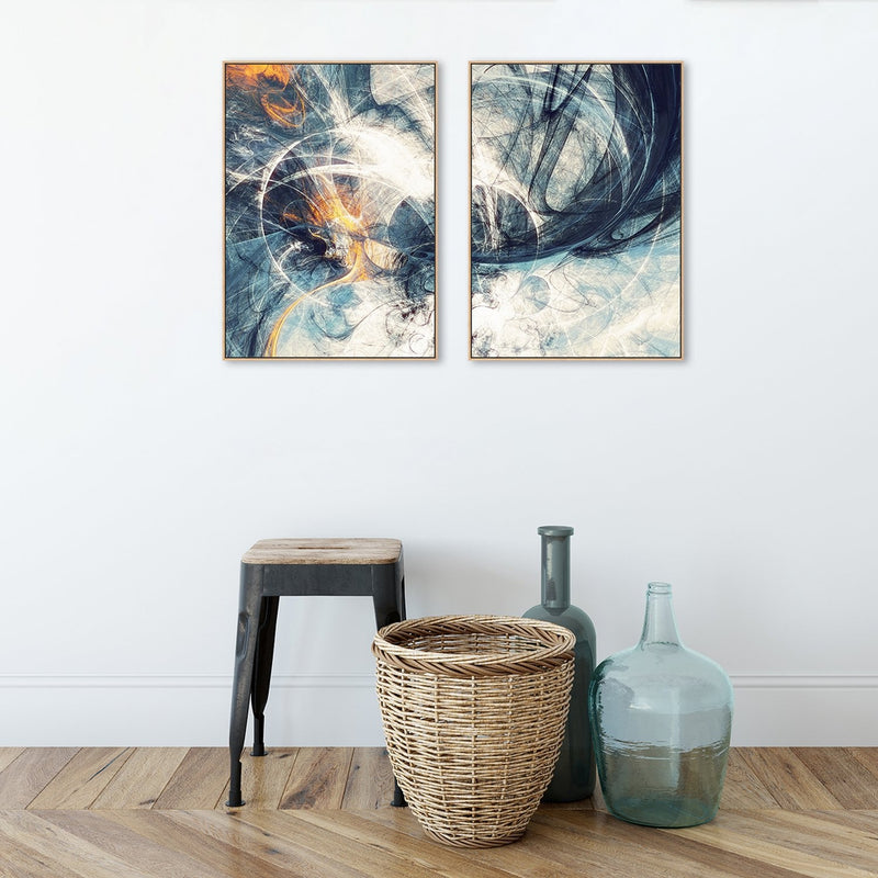 Wall-Art-Poster-Canvas-Framed-Spark, Abstract Art, Set Of 2, Style A-Gioia Wall Art