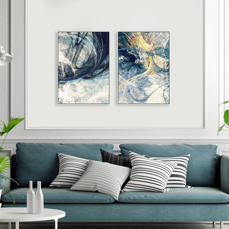 Wall-Art-Poster-Canvas-Framed-Spark, Abstract Art, Set Of 2, Style B-Gioia Wall Art