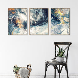 Wall-Art-Poster-Canvas-Framed-Spark, Abstract Art, Set Of 3-Gioia Wall Art