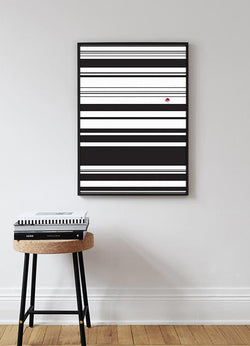 Wall-Art-Poster-Canvas-Framed-Strip Art, Black And White, With Pink Flower-Gioia Wall Art