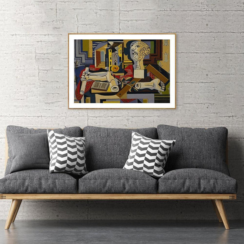 Wall-Art-Poster-Canvas-Framed-Studio with Plaster Head, by Pablo Picasso-Gioia Wall Art