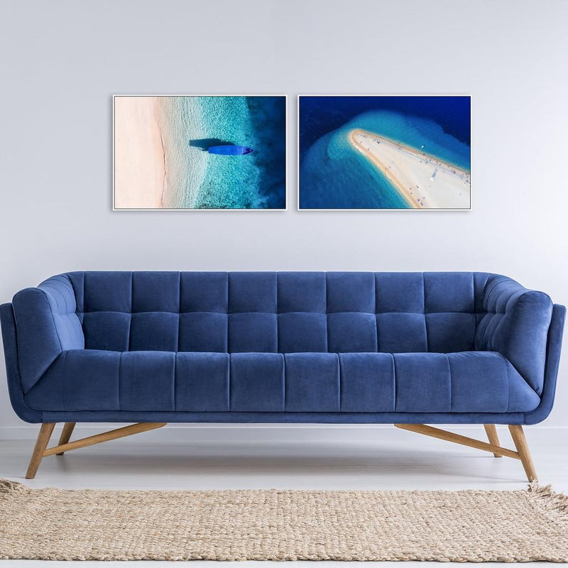 Wall-Art-Poster-Canvas-Framed-Stunning Shoreline and Blue Sea, Set of 2, Landscape-Gioia Wall Art