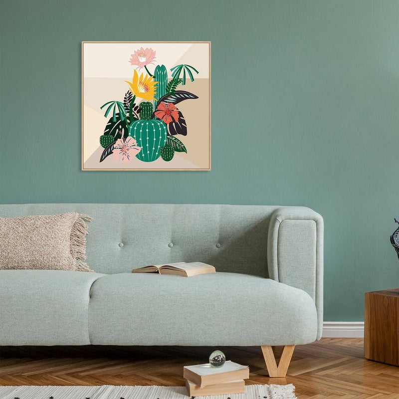 Wall-Art-Poster-Canvas-Framed-Succulents And Flowers-Gioia Wall Art