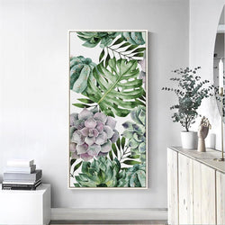 Wall-Art-Poster-Canvas-Framed-Succulents And Monstera Leaves, Watercolour Painting Style-Gioia Wall Art