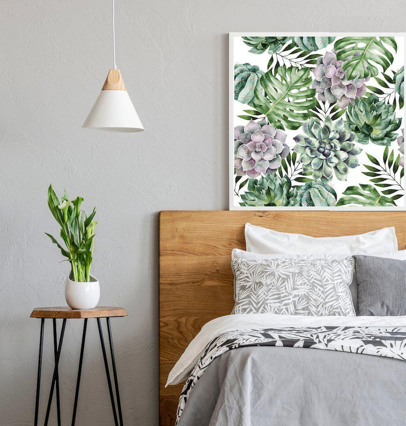 Wall-Art-Poster-Canvas-Framed-Succulents And Monstera Leaves, Watercolour Painting Style, Square-Gioia Wall Art