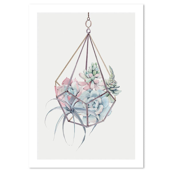 Wall-Art-Poster-Canvas-Framed-Succulents Hanging Basket, Watercolour-Gioia Wall Art