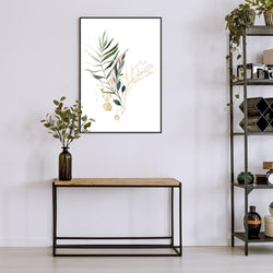 Wall-Art-Poster-Canvas-Framed-Sun-kissed plants, Leaves with gold sunlight mottle-Gioia Wall Art